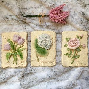 Three Floral Raised Wall Art